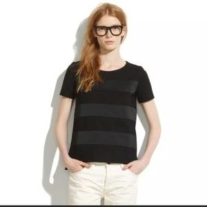 Madewell Black Satin Striped Short Sleeve Thick